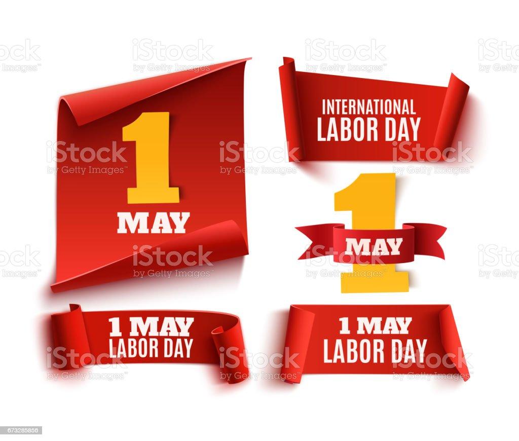 Conjunto de cinco rojo, realista, 1 de mayo banners del día del trabajo. - ilustración de arte vectorial