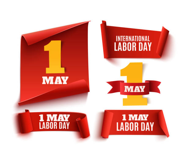 set of five red, realistic,1 may labor day banners. - may day stock illustrations, clip art, cartoons, & icons