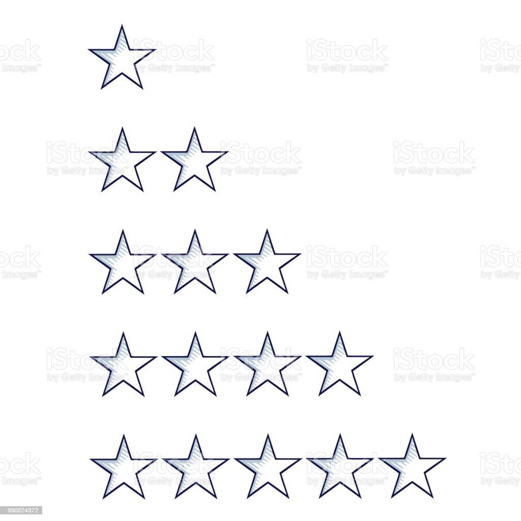 satz von fünf skizze sternen vorlage isoliert auf weiss