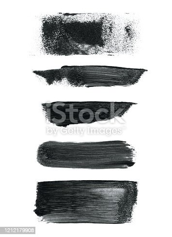 Five short paint traces isolated on white paper background. Visible imperfections in applying the paint - lines dots spots.  VECTOR FILE - enlarge without lost the quality. Zoom to see details.