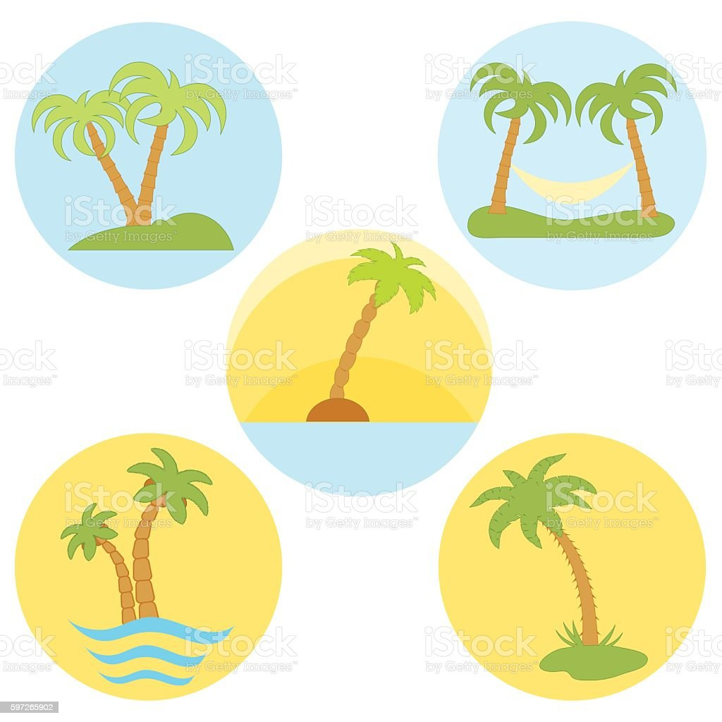 Set of five vector icons with palm trees set of five vector icons with palm trees – cliparts vectoriels et plus d'images de arbre libre de droits