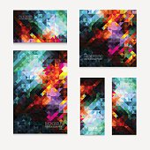 Set of five vector modern colorful rectangular abstract mosaic backgrounds