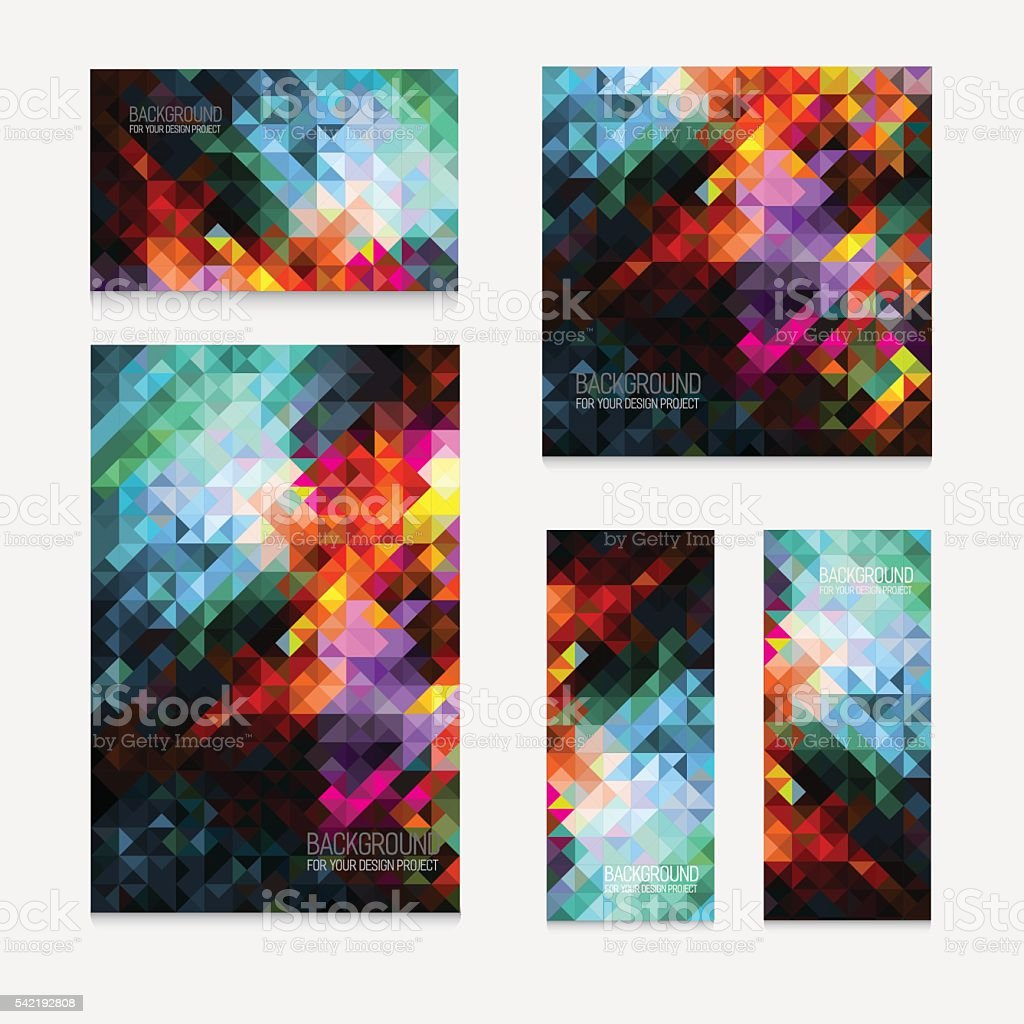 Set of five vector modern colorful rectangular abstract mosaic backgrounds vector art illustration
