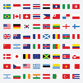 Set of flags flat design vector illustration