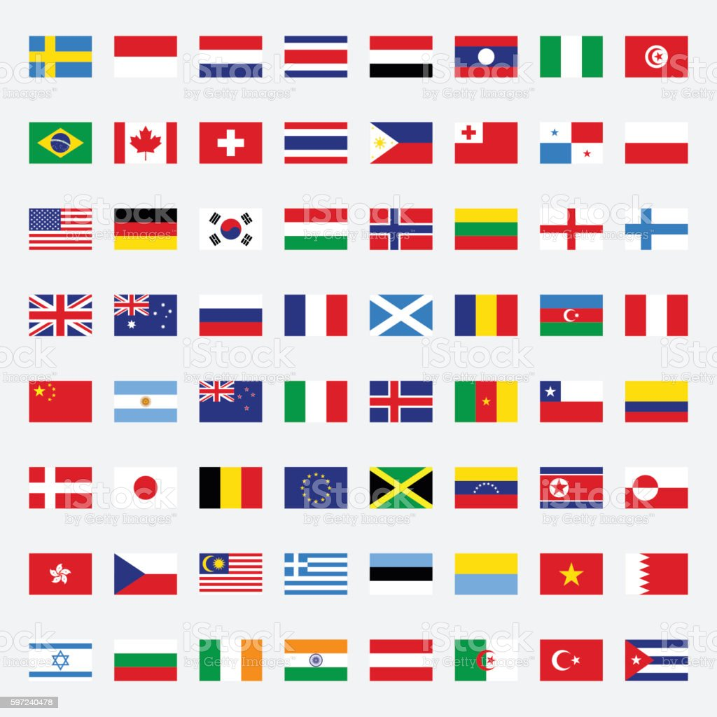 Set of flags flat design vector illustration – Vektorgrafik