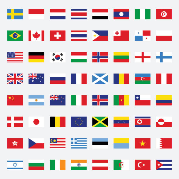 ilustraciones, imágenes clip art, dibujos animados e iconos de stock de set of flags flat design vector illustration - bandera de argentina