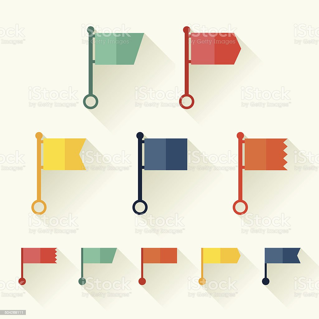Set of flags for design in flat style. vector art illustration