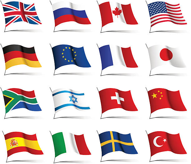 Set of flags from countries of different continents vector art illustration