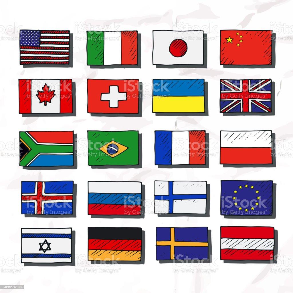 Satz von flags. Hand gezeichnet. – Vektorgrafik