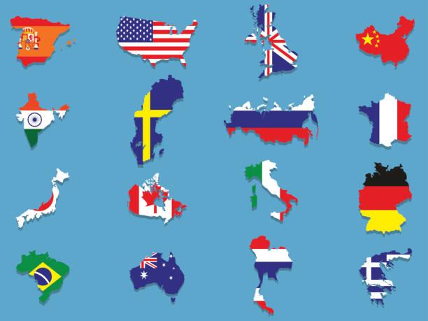 Ein set von Fahnen in der form von dem jeweiligen Land – Vektorgrafik