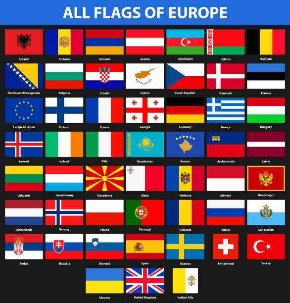 set of flags of all countries of europe. flat style - macedonia country stock illustrations, clip art, cartoons, & icons
