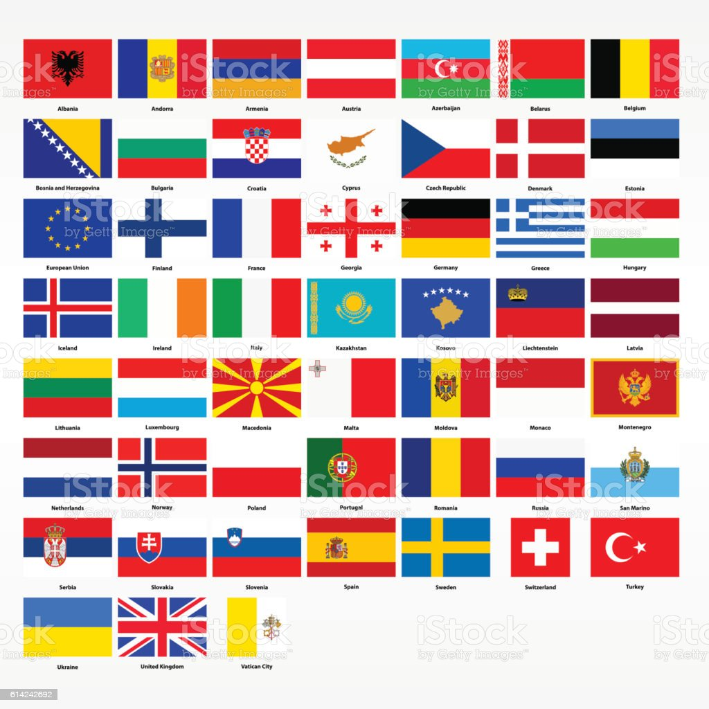 Set of flags of all countries of Europe vector art illustration