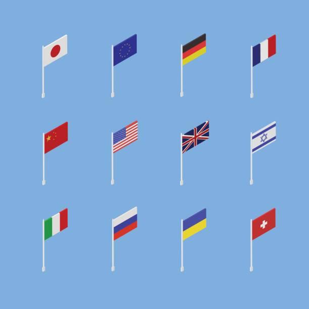 さまざまな国のフラグのセットは、等尺性の 3 d です。 - イギリスの国旗点のイラスト素材/クリップアート素材/マンガ素材/アイコン素材