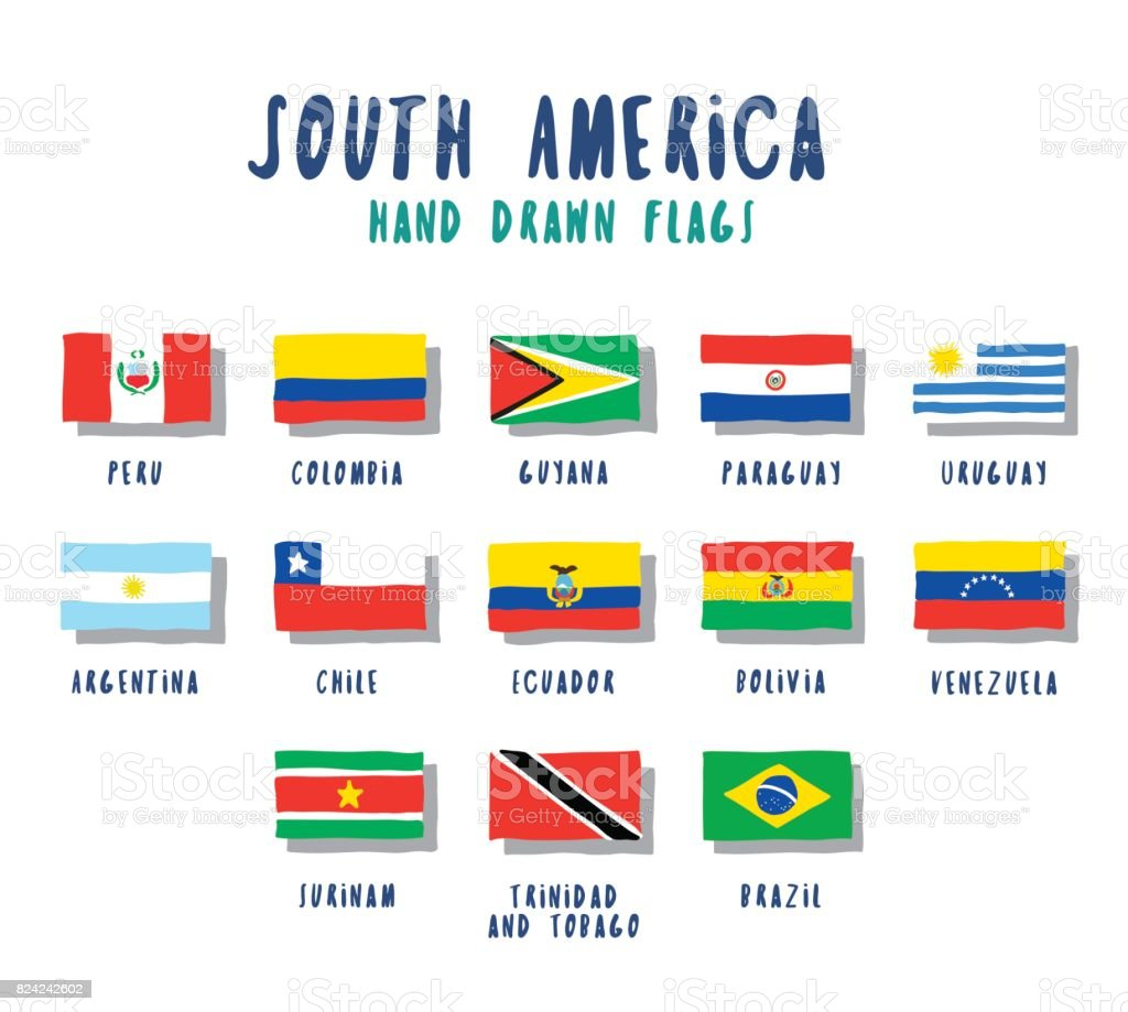 Satz von Flags der südamerikanischen Länder. Die Hand gezeichnete Cartoon-Stil – Vektorgrafik