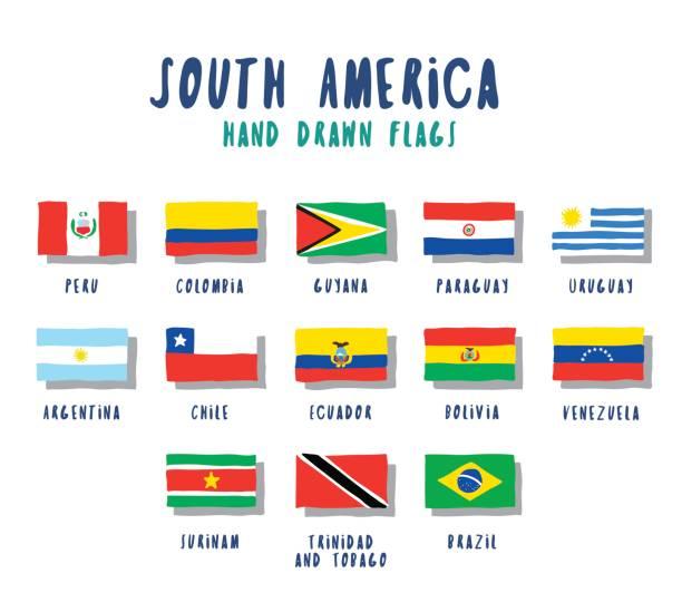 ilustraciones, imágenes clip art, dibujos animados e iconos de stock de conjunto de banderas de países de américa del sur. estilo de dibujos animados dibujados a mano - bandera de ecuador
