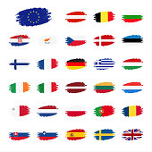 Set of flags of the European Union countries, flag in apperance streaks, set grunge flags, vector illustrations isolated on white background