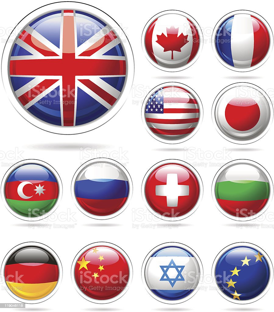 Set of flags. vector art illustration