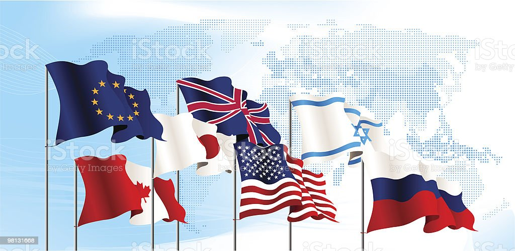 Set of flags. World map background. royalty-free set of flags world map background stock vector art & more images of american flag