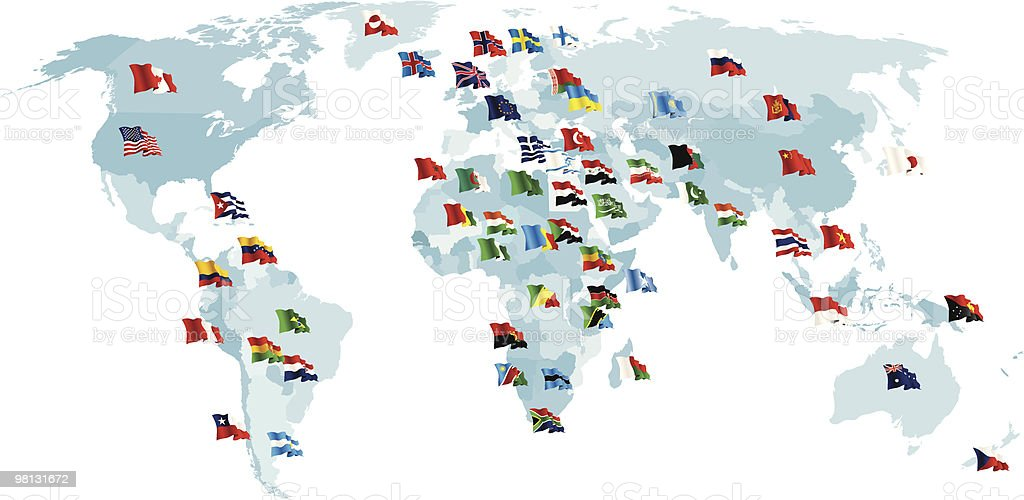 Set of flags. World map. royalty-free set of flags world map stock vector art & more images of american flag