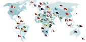 Set of flags. World map.