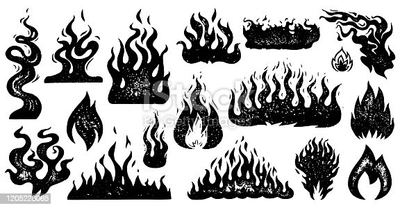 istock Set of flame and fire in vintage style. Hand drawn engraved monochrome bonfire sketch. Vector illustration for posters, banners and logo 1205228065