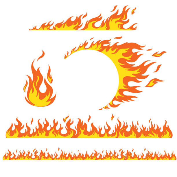 Set of flame elements Set of flame elements on a white background, fire. Horizontal pattern of fire, fire around the wheel. personal land vehicle stock illustrations