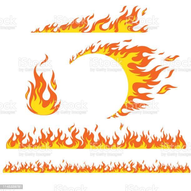 Uppsättning Av Flam Element-vektorgrafik och fler bilder på Antända