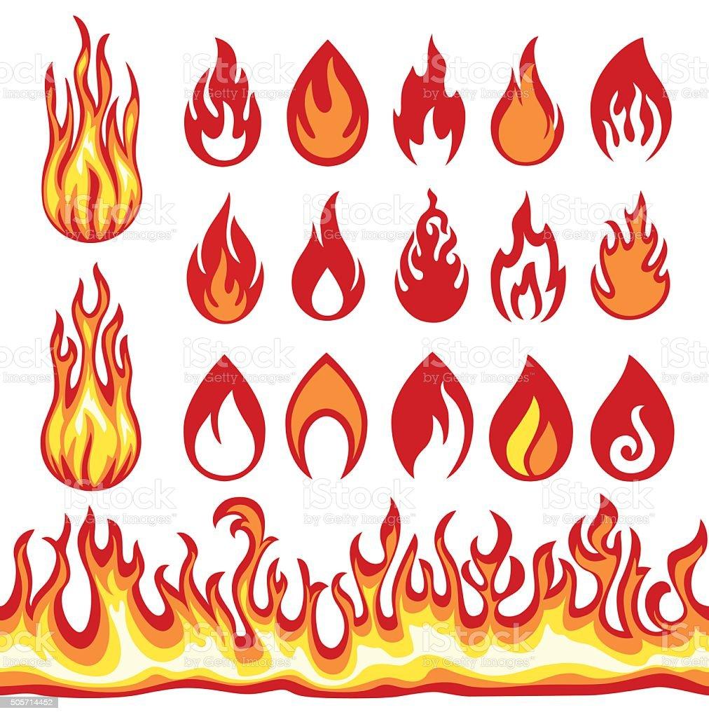 Set of Flame icons. Fire symbols. Vector illustration. vector art illustration