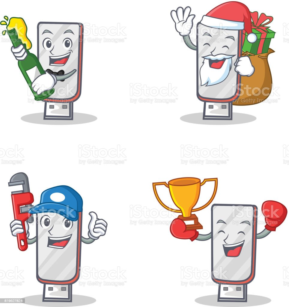 Set Of Flash Disk Character With Beer Gift Plumber Winner