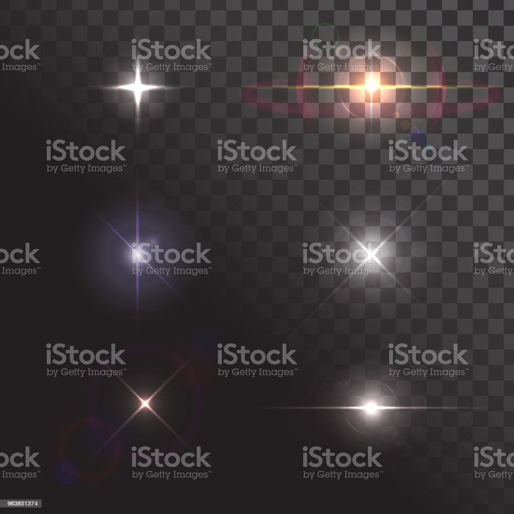 Set of flashes of light, shine, stars, cosmic explosions - Royalty-free Abstract stock vector