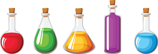 Set of flasks with colorful liquids. Vector illustration. Vector set of glass flasks with colorful liquids isolated on a white background. laboratory flask stock illustrations