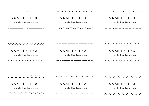Set of flat and simple line frame illustrations