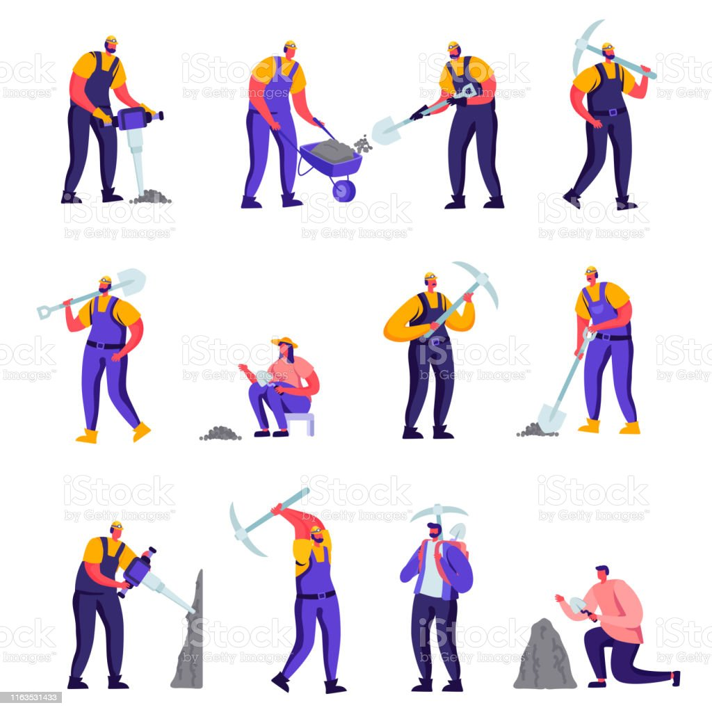 Set of Flat Archeologists and Road Repair Workers Characters. Cartoon...