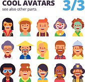 Set of flat avatars. Part 3. See also other parts.