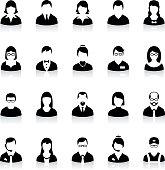 Business people avatar icons. Black avatars with shadow. Businessman and businesswoman avatars.