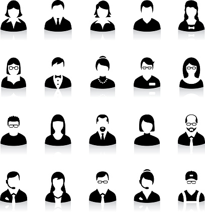 Set of flat business avatar icons clipart