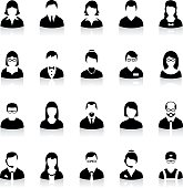 Business people avatar icons. Black avatars with shadow. Businessman and businesswoman avatars.