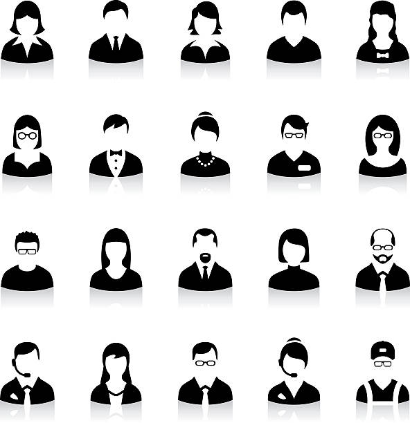 set of flat business avatar icons - female faces stock illustrations, clip art, cartoons, & icons