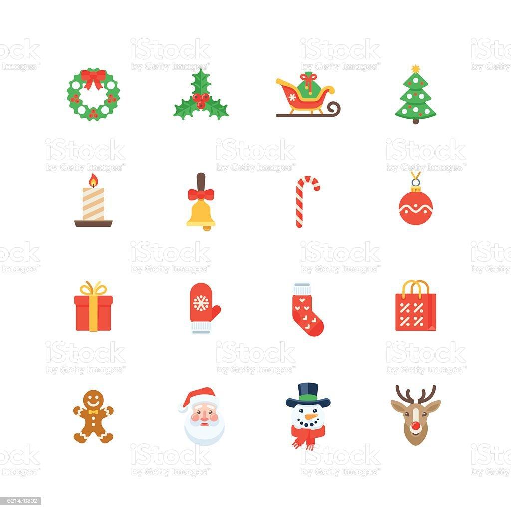 Set of flat Christmas icons isolated on white background – Vektorgrafik