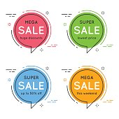 Set of flat circle speech bubble shaped banners, price tags, stickers, badges. Vector illustration set
