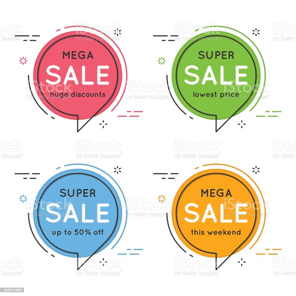 Set of flat circle speech bubble shaped banners, price tags, sti vector art illustration