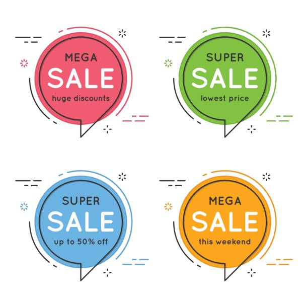 Conjunto da bolha do discurso de círculo plana em forma de banners, etiquetas de preço, sti - ilustração de arte em vetor