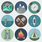 Set of flat circular camping icons in different colors
