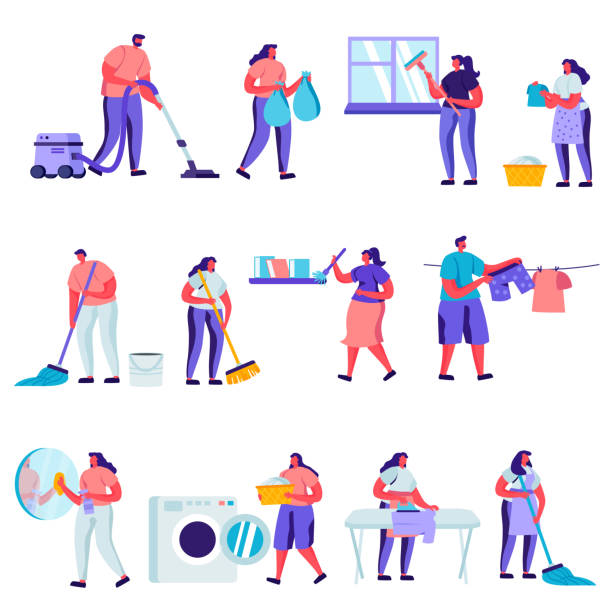 Set of Flat Cleaning and Repair Service Workers Characters. vector art illustration