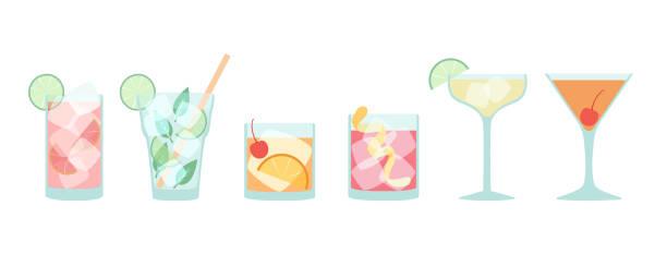satz von flachen cocktails - verdreht stock-grafiken, -clipart, -cartoons und -symbole