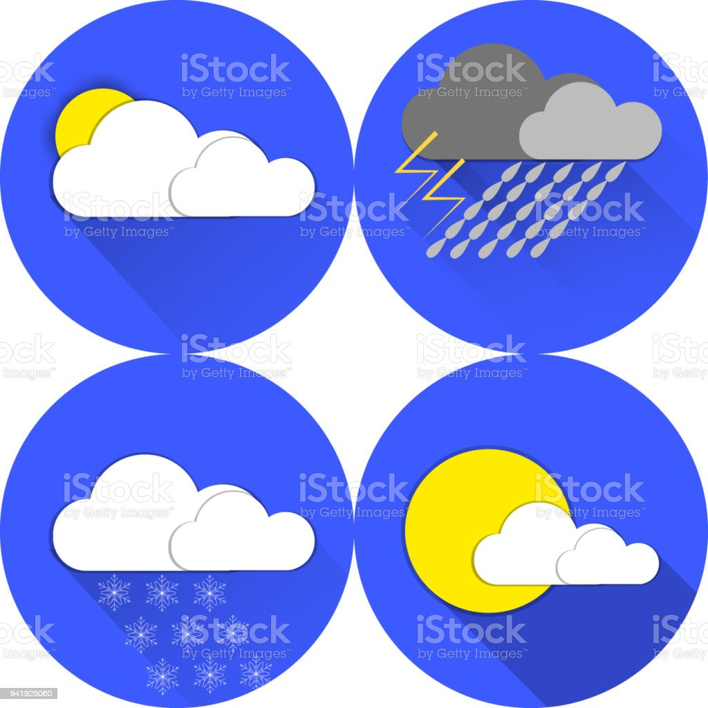 Set Of Flat Color Weather Symbols Stock Vector Art More Images Of