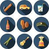 Set of flat colorful icons with shadows on Cuba theme with rum, coctail Cuba Libre, old car, sugar cane, coffee, guitar, cigar, national woman's dress and famous hat of Che for your cuban design