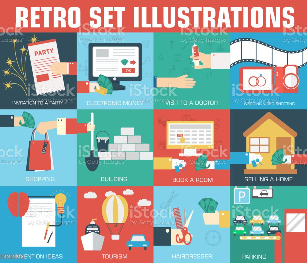 set of flat communication concepts illustrations. Vector background vector art illustration