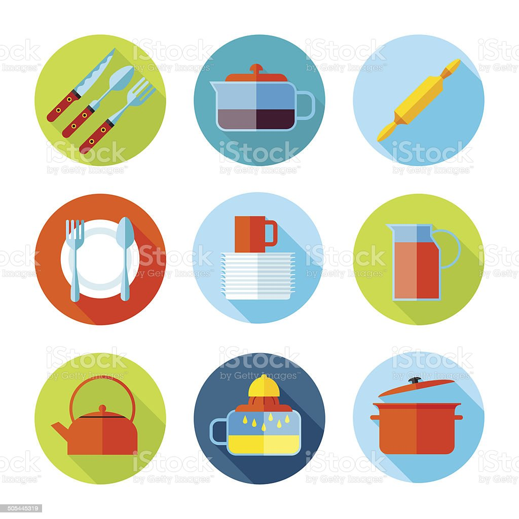 Set of flat cutlery and dishes icons. royalty-free stock vector art