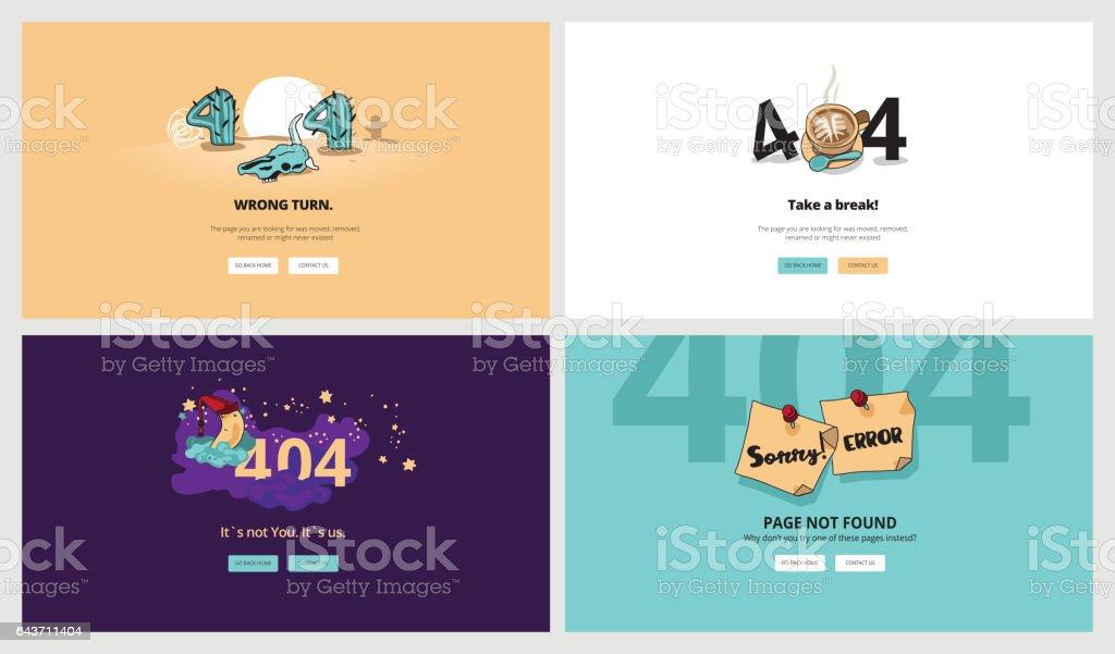 Flache Bauform 404 Fehlerseite Vorlagen Stock Vektor Art und mehr ...